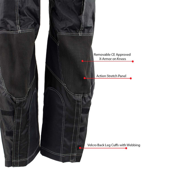 Xelement B4402 Men's Advanced Black and Grey Advanced X-Armored Tri-Tex Fabric Motorcycle Pants