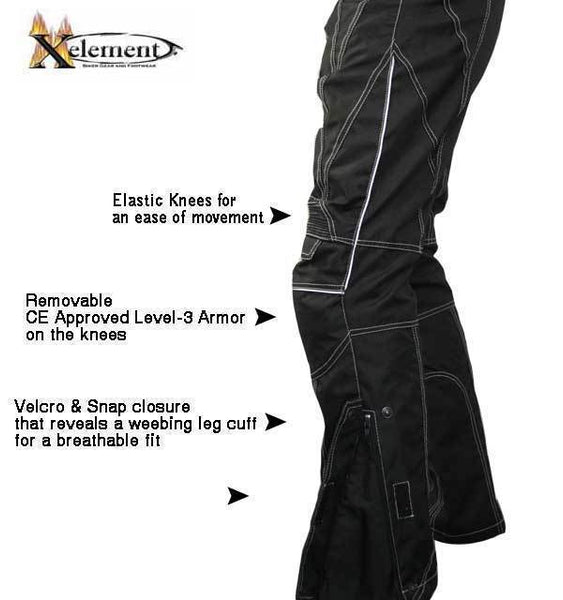 Xelement B4406 Men's Black Advanced X-Armored Tri-Tex White Stitched Fabric Motorcycle Pants