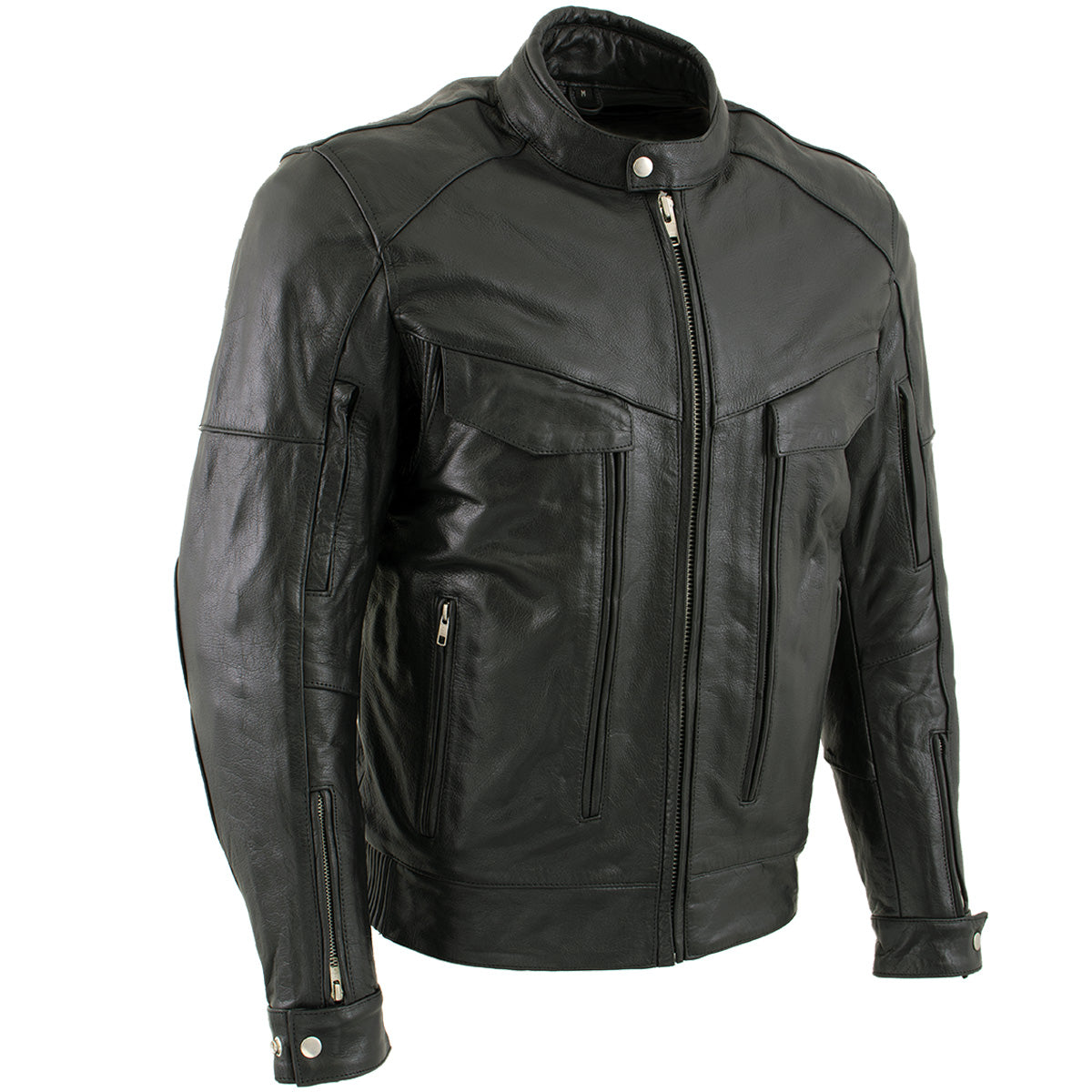 Xelement B4495 'Bandit' Men's Black Buffalo Leather Cruiser Motorcycle