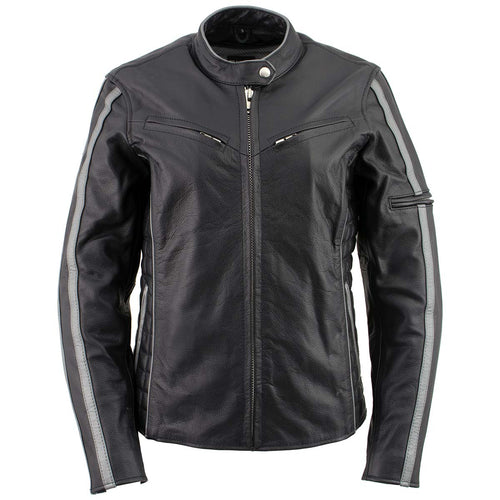 Xelement B7065 Women's 'Silver Fox' Black with Silver Multi Vented Leather Motorcycle Jacket