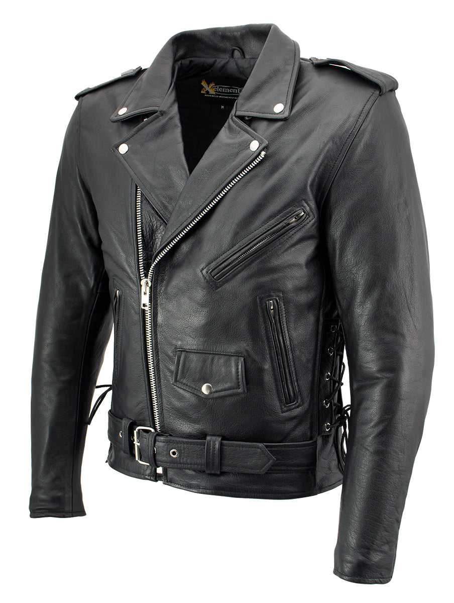 Xelement B7103 'Ruffian' Mens Classic Motorcycle Side Lace Leather Jacket with Gun Pocket