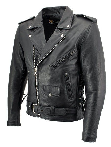 Xelement B7103 'Ruffian' Men's Classic Black Motorcycle Side Lace Leather Jacket with X-Armor Protection
