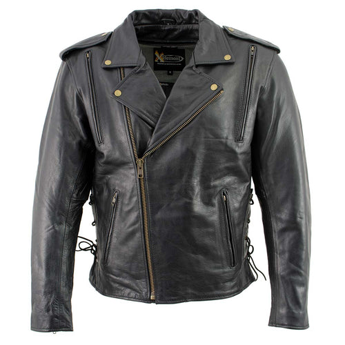 Xelement B7210 Men's 'Cool Rider' Black Vented Leather Motorcycle Jacket