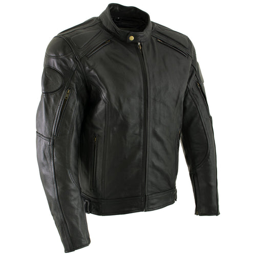 Xelement B7366 'Executioner' Men's Black Leather Racer Jacket with X-Armor Protection