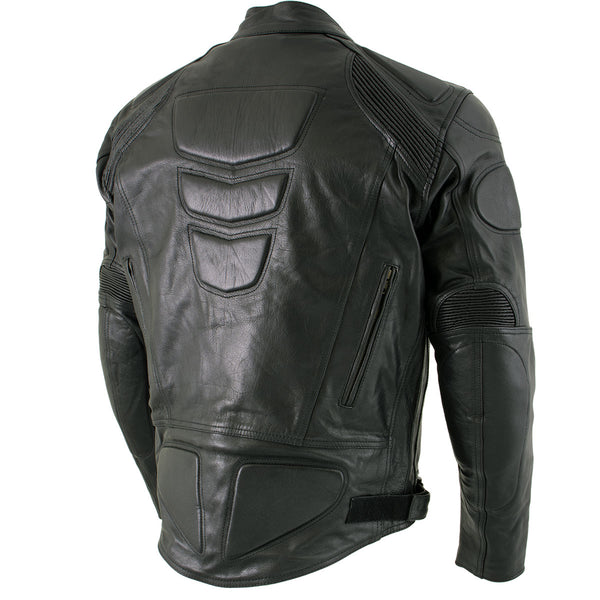 Xelement B7366 'Executioner' Men's Black Leather Racer Jacket with