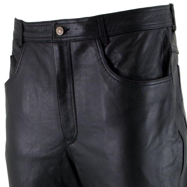 Xelement B7400 Men's 'Classic' Black Fitted Leather Pants