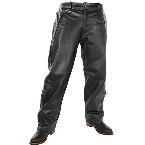 Xelement B7440 Men's Black Leather Motorcycle Overpants with Side Zipper and Snaps