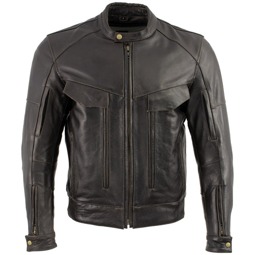 Xelement B7496 'Bandit' Men's Retro Distressed Brown Leather Motorcycle Jacket with X-Armor Protection