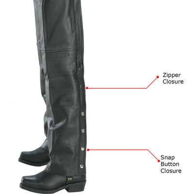 Xelement 7553 Women's Black Advanced Dual Comfort Leather Chaps