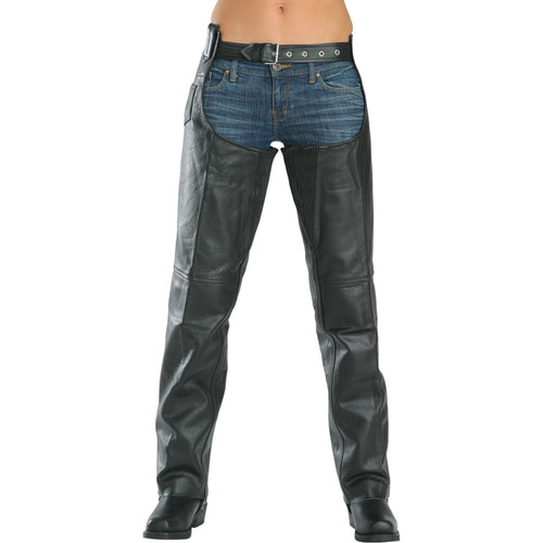 Xelement 7553 Women's Black 'Advanced Dual Comfort' Leather Chaps