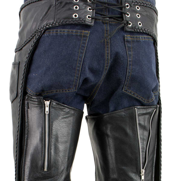 Xelement B7555 Classic Men's Black 'Braided' Elastic Fit Leather Chaps