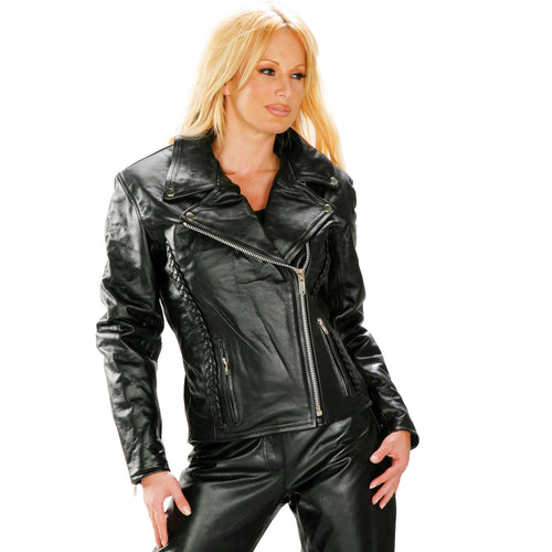 Xelement B8000 'Classic' Women's Black Leather Braided Jacket with Gun Pockets