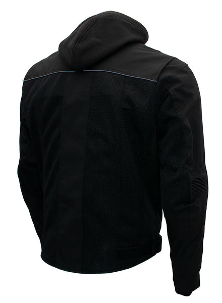 Xelement B91033 Men's 'Requiem' Black Mesh Jacket with X-Armor and Removable Hoodie
