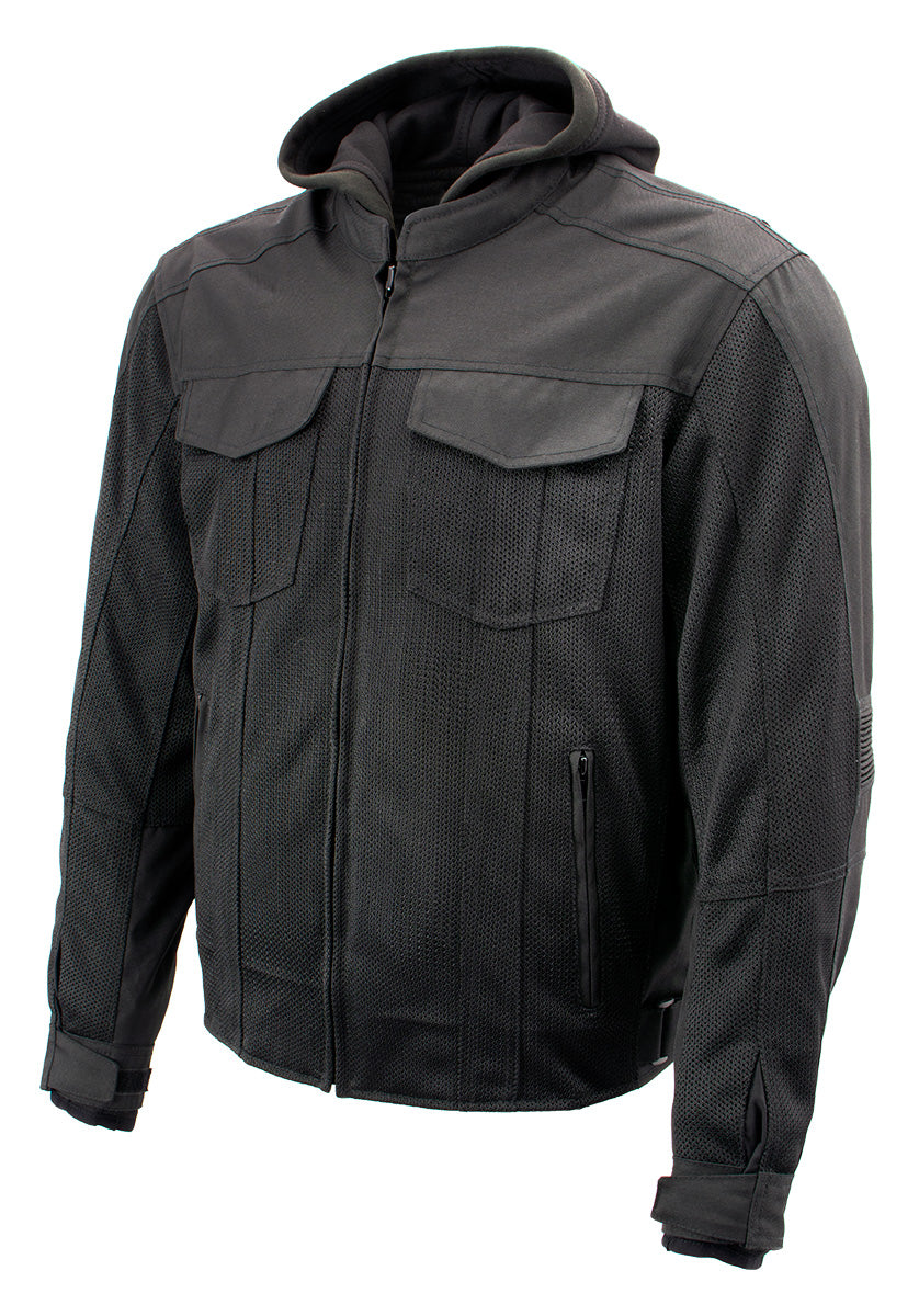 Xelement B91033 'Requiem' Mens Black Mesh Jacket with X-Armor and