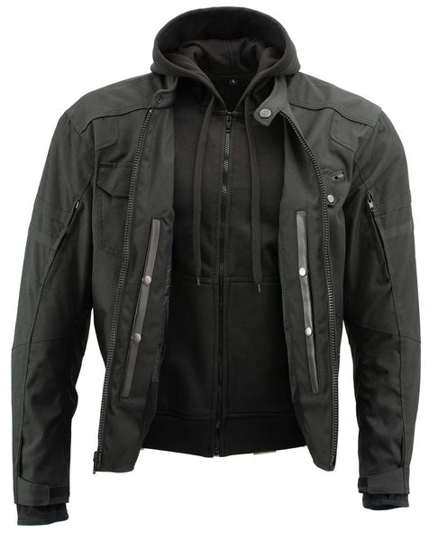 Xelement B91022 Men's 'Flight' Black Textile Jacket with X-Armor and Removable Hoodie