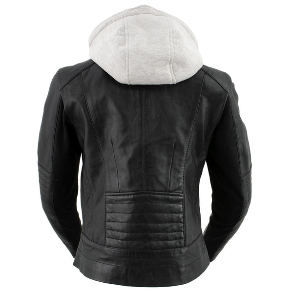 Xelement B91044 Ladies 'Stitch' Black Racer Style Scuba Jacket with Detachable Hoodie