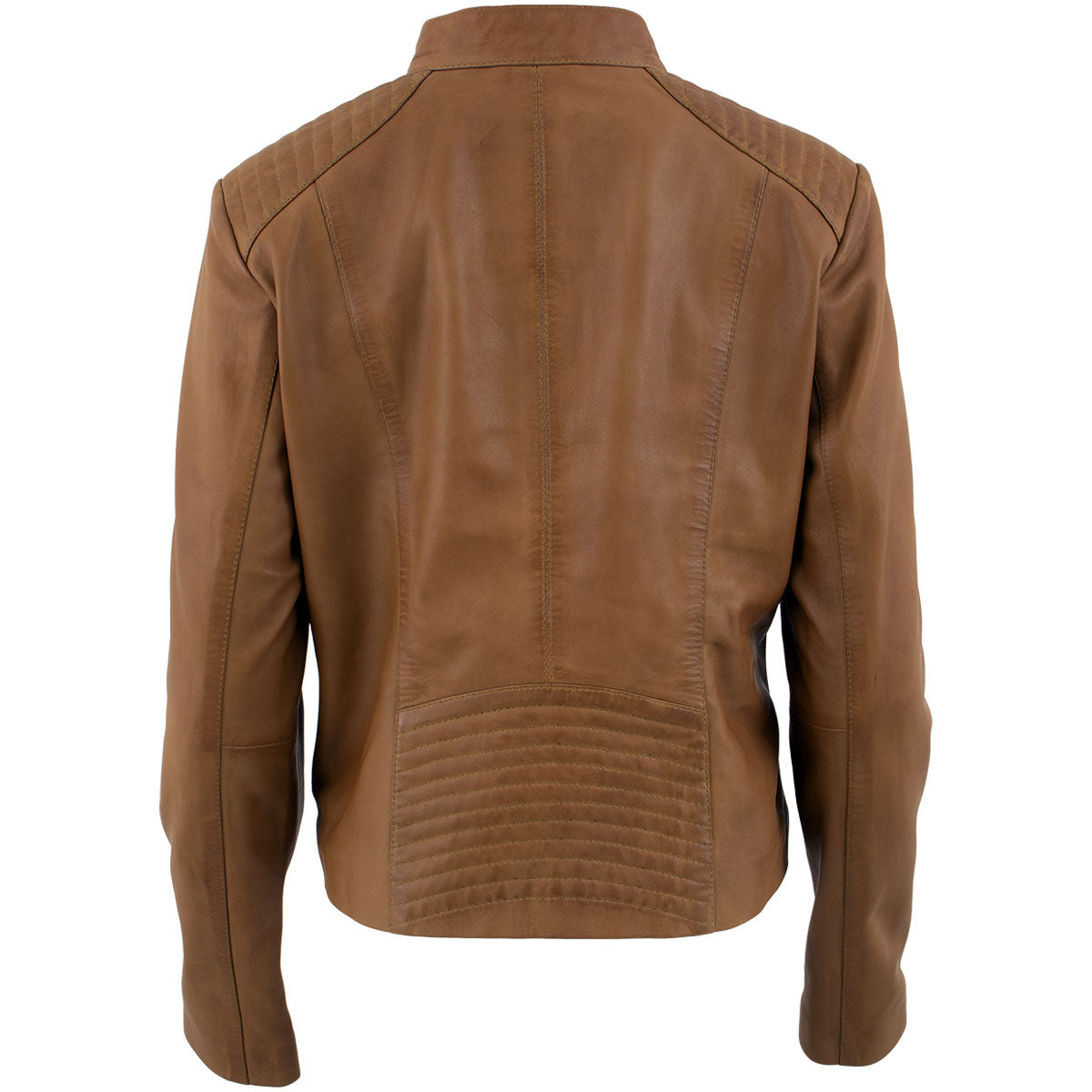 Xelement B91058 Ladies 'Keeper'Cognac Leather Scuba Style Jacket with