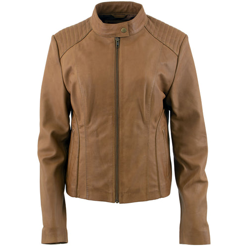 Xelement B91058 Ladies 'Keeper'Cognac Leather Scuba Style Jacket with Snap Mandarin Collar