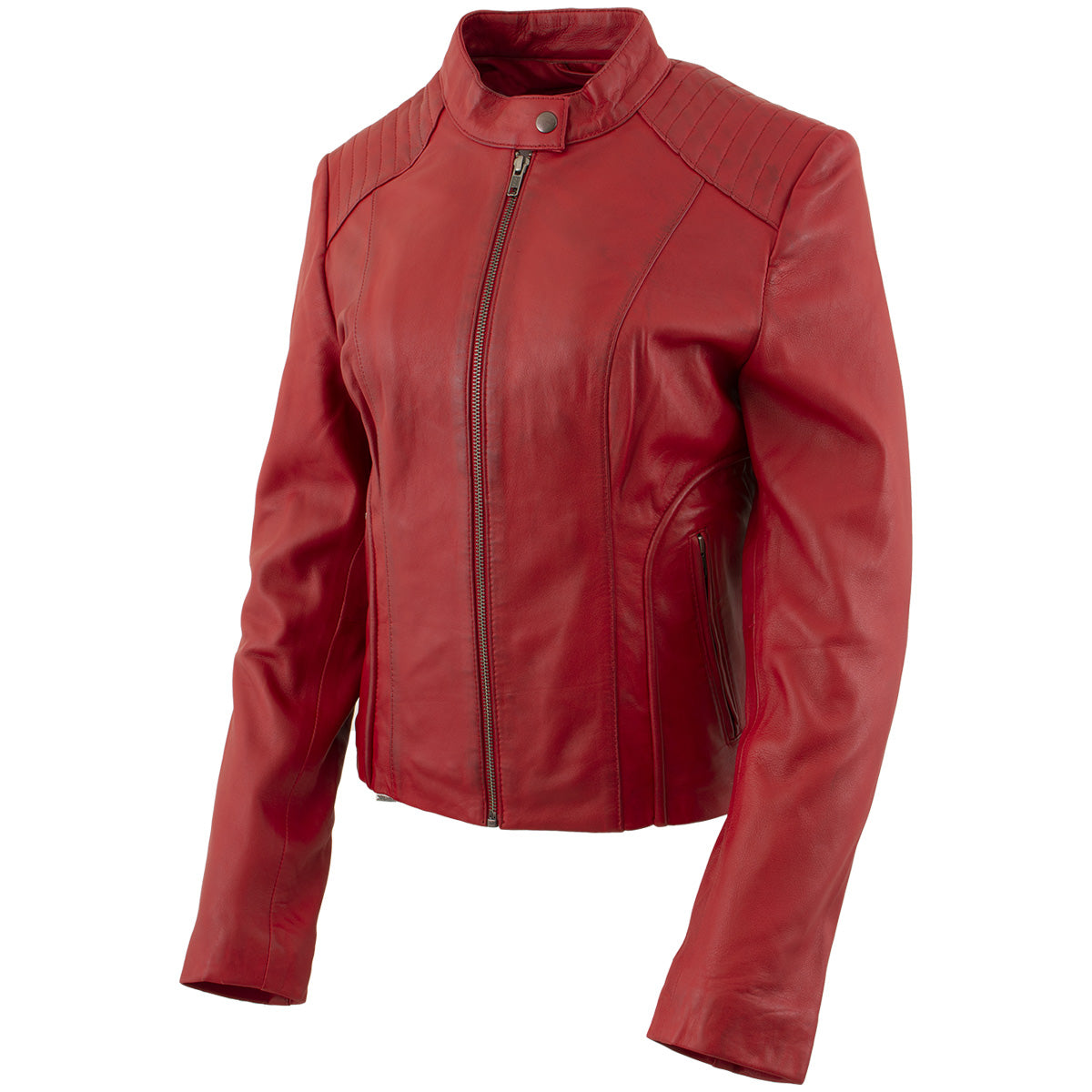 Xelement B91066 Ladies 'Keeper' Red Leather Scuba Style Jacket with