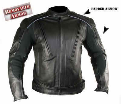 Xelement B9119 Men's Black Armored Leather Motorcycle Jacket