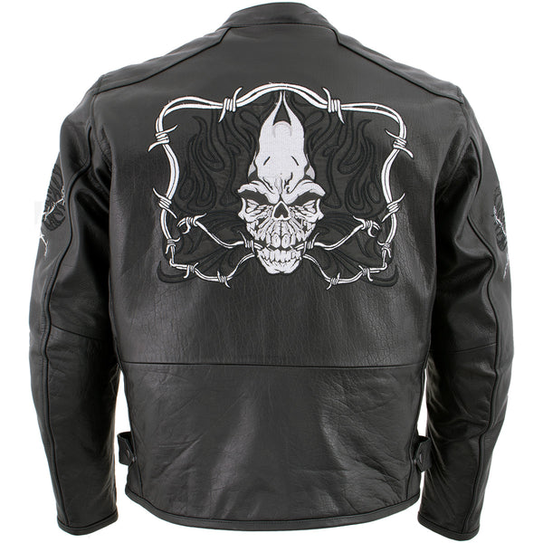Xelement B95010 Men's 'Bones' Black Armored Cruiser Motorcycle Jacket with Reflective Skulls