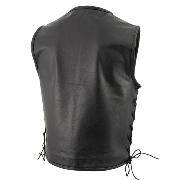 Xelement B95140 Men's 'Drifter' Black Advanced Collarless Leather Motorcycle Vest