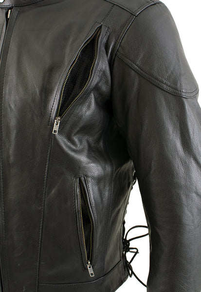 Xelement B96333 Men's 'Flying Mayhem Skull' Black Leather Moto Jacket with X-Armor Protection