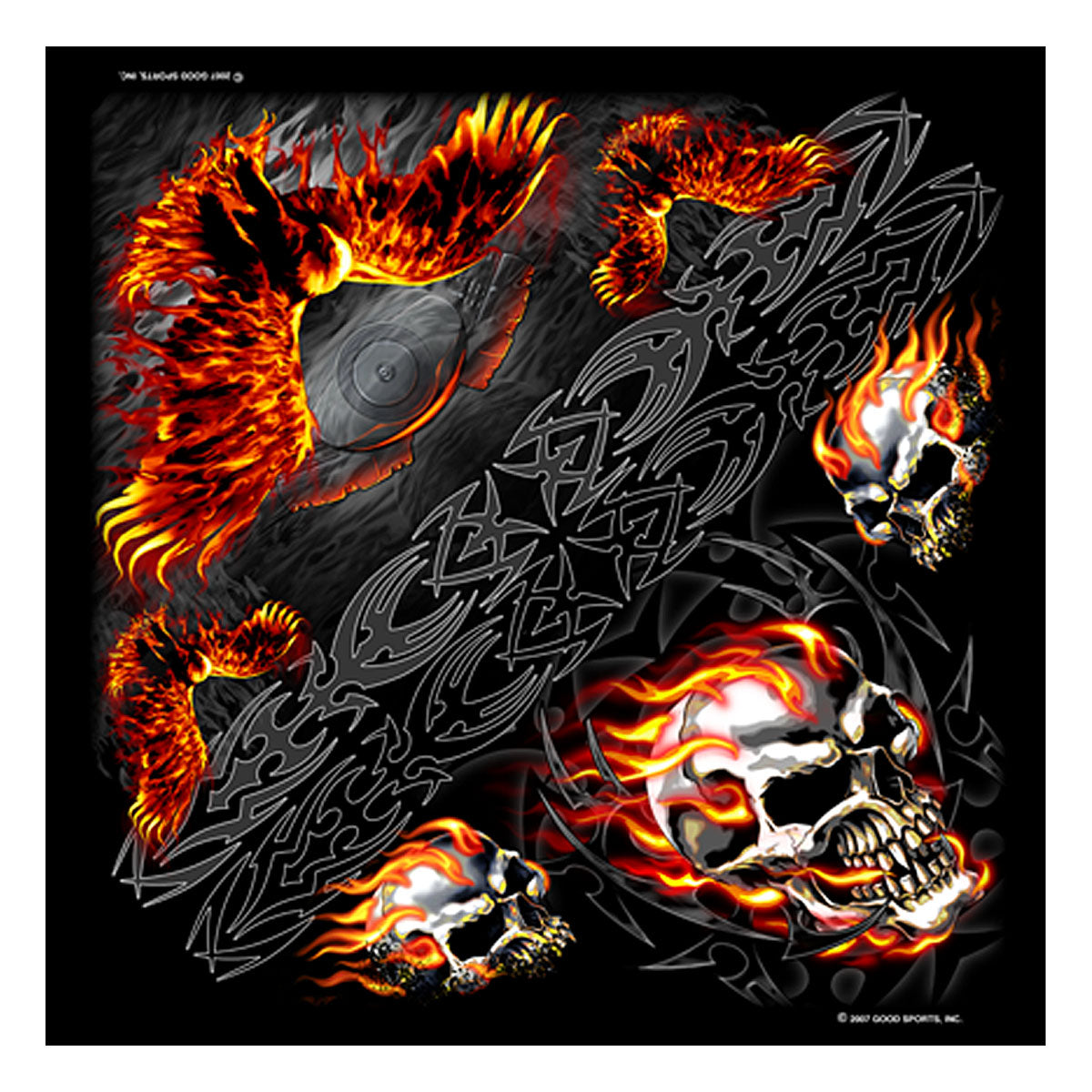 Hot Leathers BAB1014 Burning Skull and Eagle Bandana