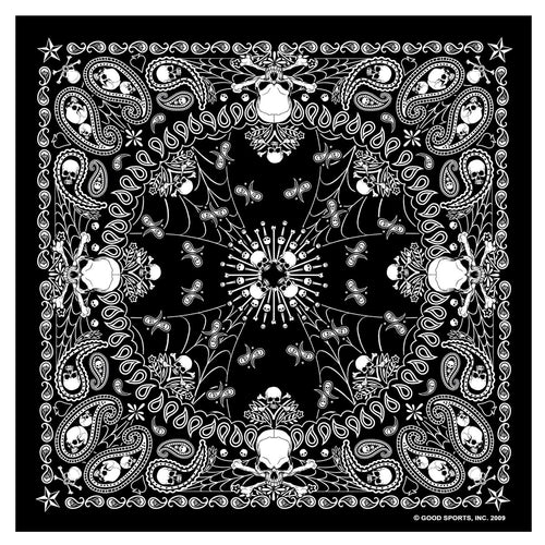 Hot Leathers BAB1039 Black Paisley Skull Bandana