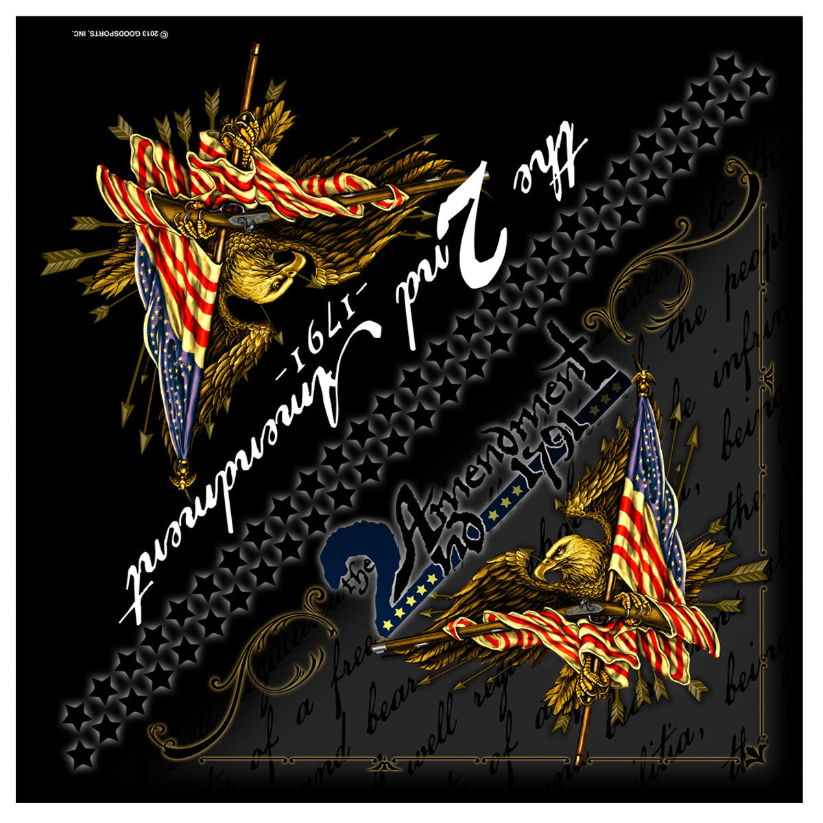Hot Leathers BAB1067 2nd Amendment Bandana