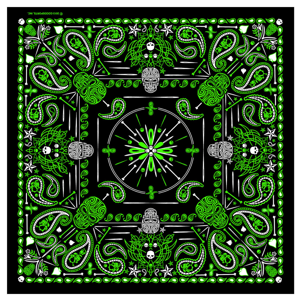 Hot Leathers BAB1068 Green Paisley Skulls Bandana