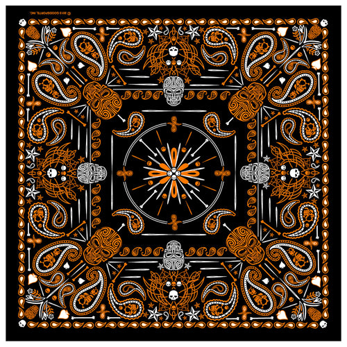 Hot Leathers BAB1069 Orange Paisley Skulls Bandana