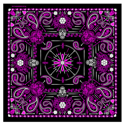 Hot Leathers BAB1071 Ladies Pink Paisley Skulls Bandana