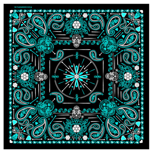 Hot Leathers BAB1072 Ladies Blue Paisley Skulls Bandana