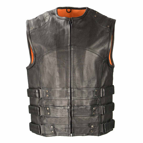 Biker Access BAM3530 Men's Black Leather 'Swat Style' Triple Strap Leather Vest