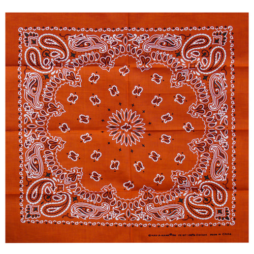 Hot Leathers BAP1010 Classic Orange Paisley Bandana