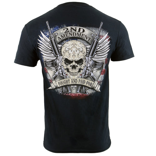 Biker Clothing Co. BCC116000 '2nd Amendment Fought and Paid For' Motorcycle Cotton Skull T-Shirt