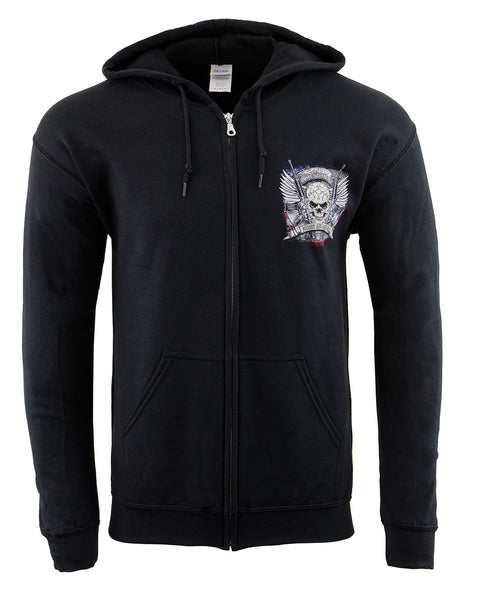 Biker Clothing Co. BCC118000 '2nd Amendment Fought and Paid For' Motorcycle Skull Hoodie