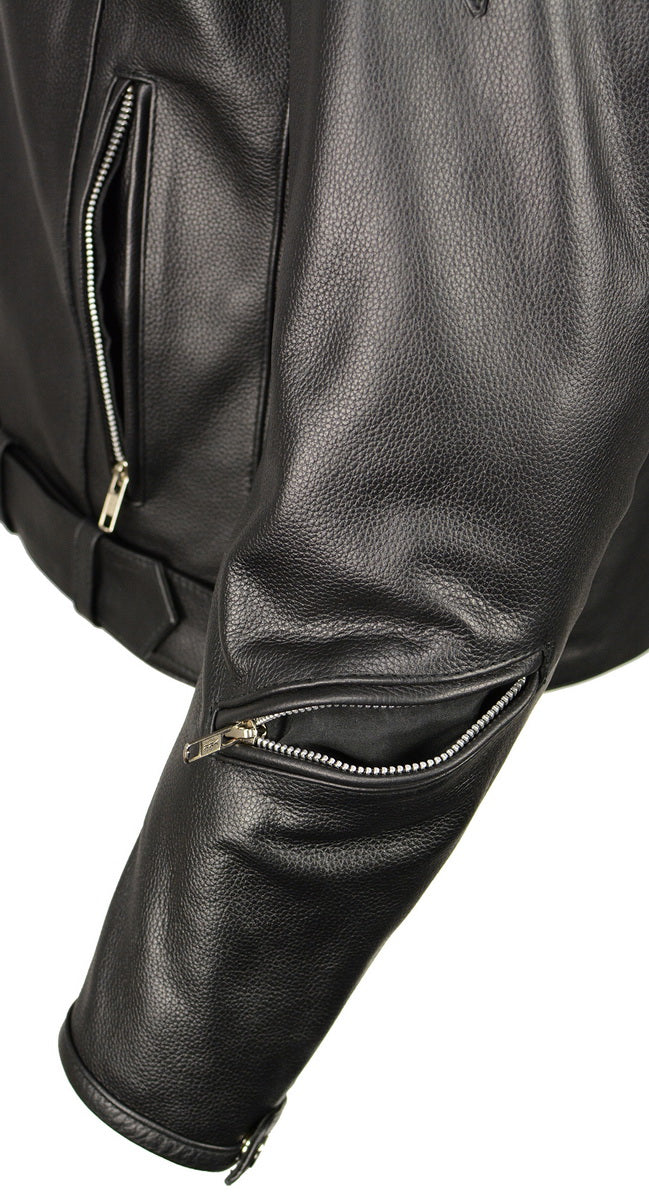 M Boss Motorcycle Apparel BOS11505 Mens Black Armored Vented Leather