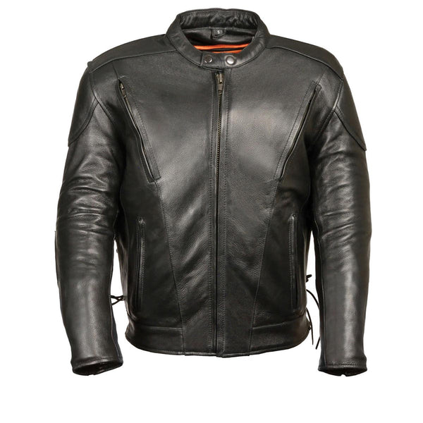 M-Boss Motorcycle Apparel BOS11511T Men's 'Speed' Big and Tall Black Cowhide Motorcycle Leather Jacket