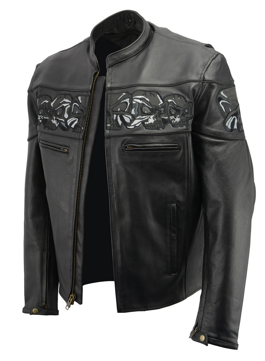 M Boss Motorcycle Apparel BOS11514 Men's Black Reflective Skull