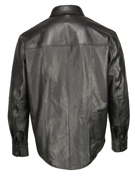 M Boss Motorcycle Apparel BOS11600 Mens Black Classic Snap Front Leather Shirt