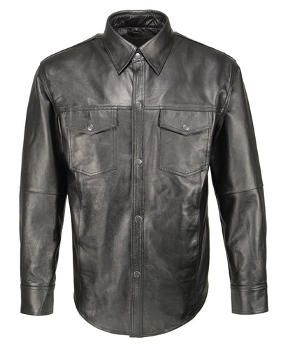 M Boss Motorcycle Apparel BOS11600 Men's Black Classic Snap Front Leather Shirt