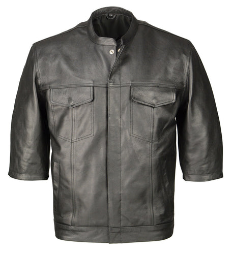 M Boss Motorcycle Apparel BOS11601 Mens Black 3/4 Sleeve Snap Front Leather Shirt with Exterior Gun Pocket