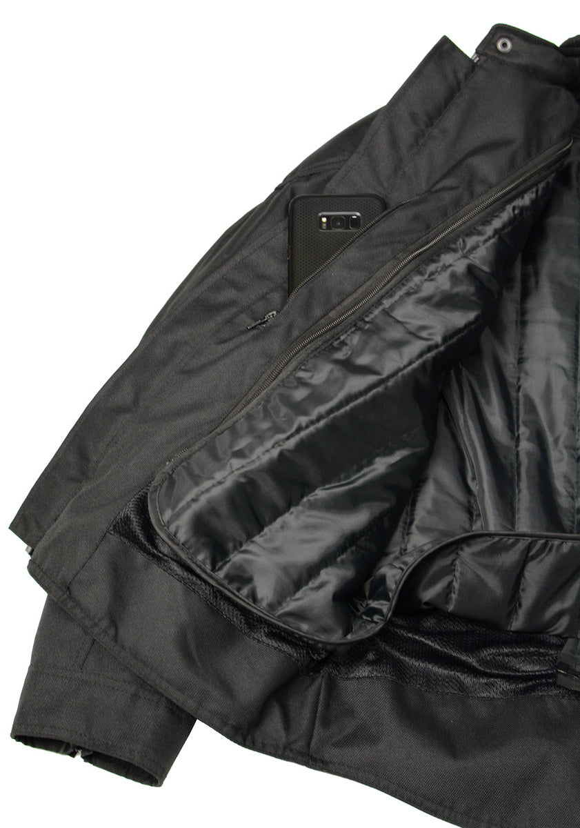 M Boss Motorcycle Apparel  BOS11700 Black Mens Nylon Racer Jacket with