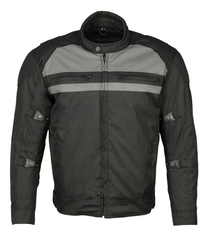 M Boss Motorcycle Apparel BOS11700 Black Men's Nylon Racer Jacket with Reflective Piping