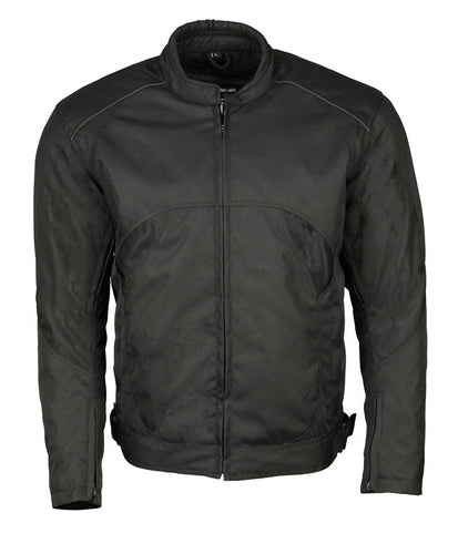 M Boss Motorcycle Apparel BOS11701 Black Men's Nylon Racer Jacket with Mesh Panel Black