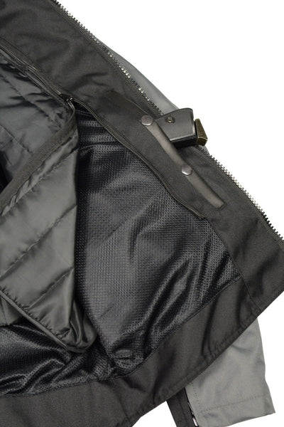 M Boss Motorcycle Apparel BOS11701 Mens Black and Grey Nylon Racer Jacket with Mesh Panel