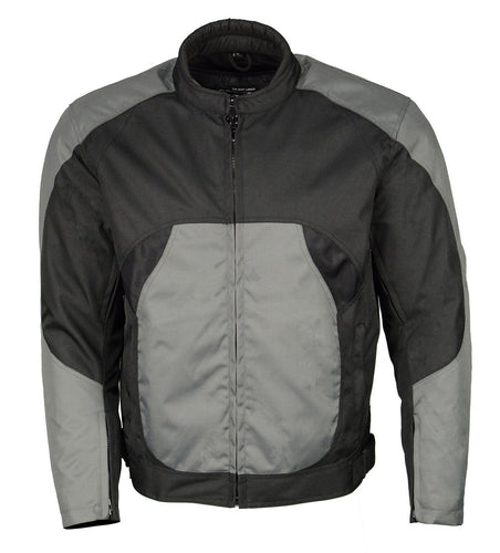 M Boss Motorcycle Apparel BOS11701 Men's Black and Grey Nylon Racer Jacket with Mesh Panel