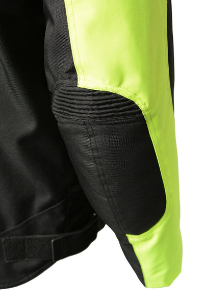 M Boss Motorcycle Apparel BOS11701 High Vis Mens Nylon Racer Jacket with Mesh Panel